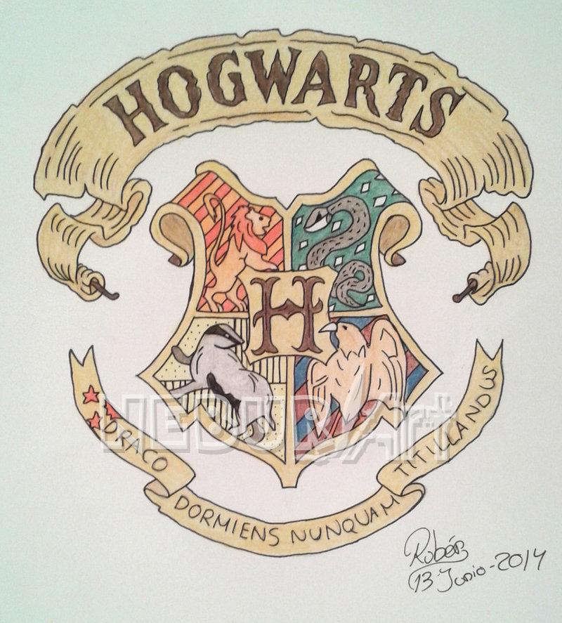 800x887 Hogwarts Crest, Drawing By Neburart