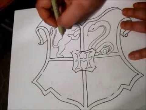 480x360 Hogwarts Crest Zentangle Part 1