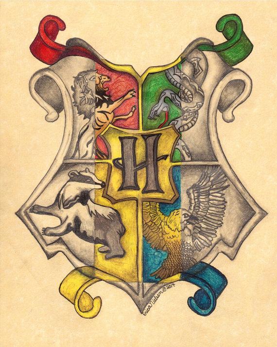 570x713 Items Similar To Original 8x10 Hogwarts Crest Drawing On Etsy