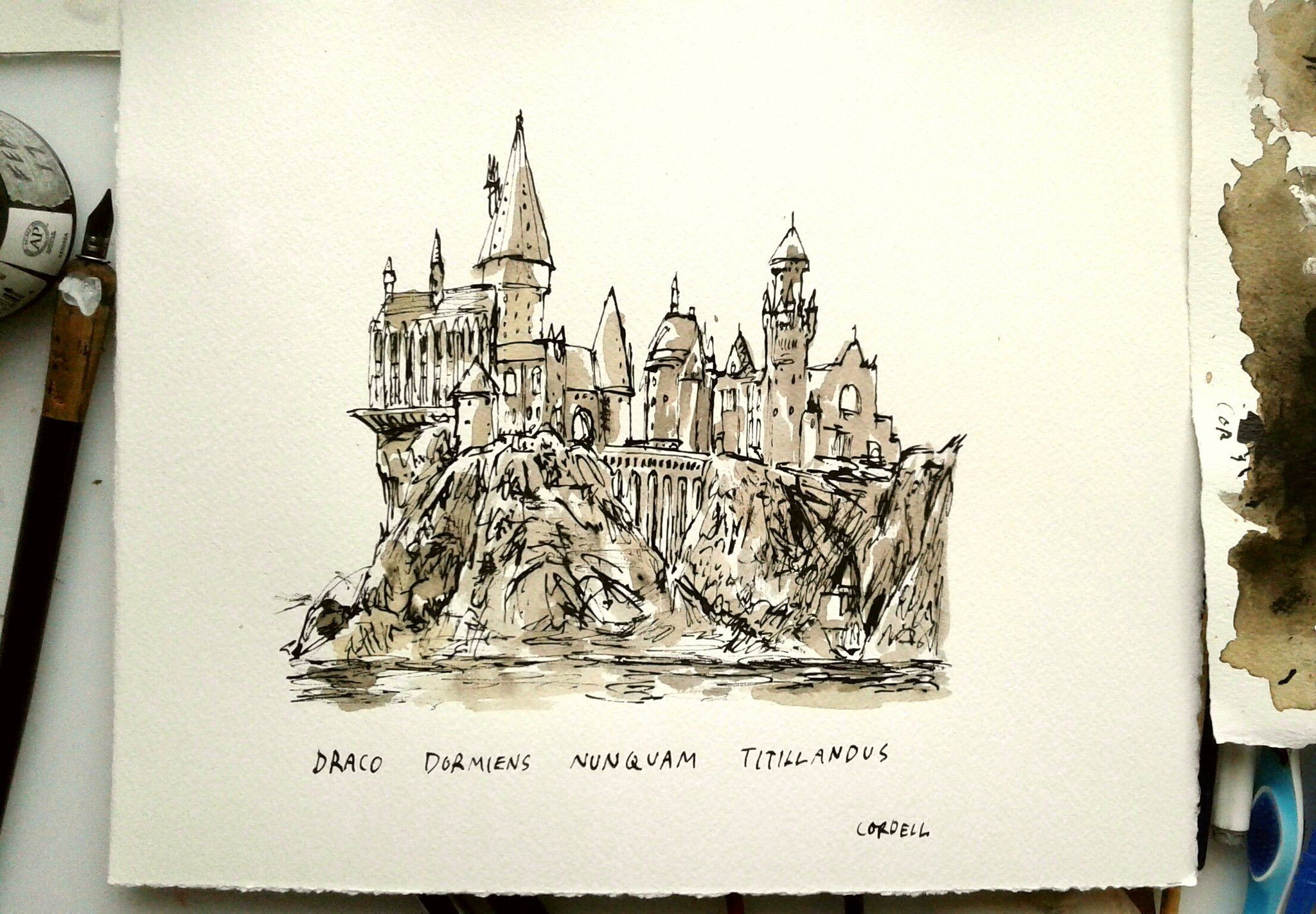 2048x1422 Gorgeous Hogwarts Drawing By Matthew Cordell