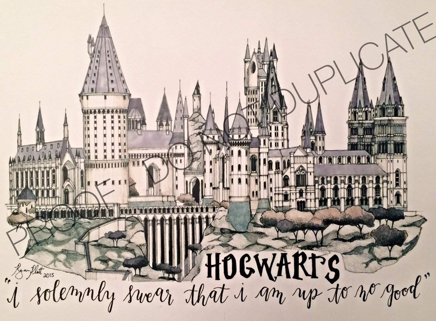 1500x1105 Harry Potter Hogwarts Ink Drawing With Custom Quote