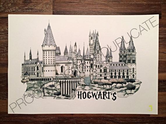 570x428 Harry Potter Hogwarts Ink Drawing
