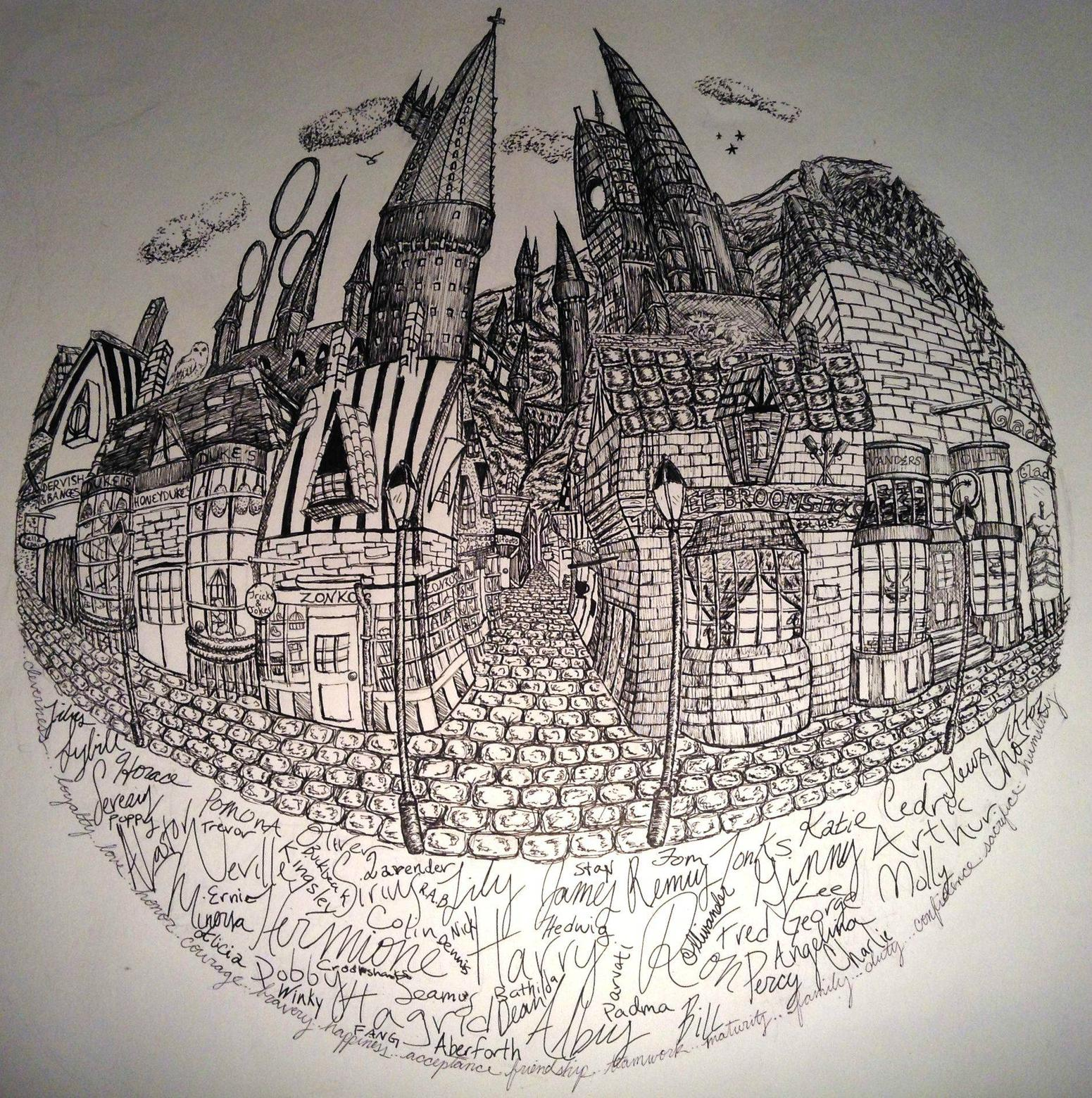 1551x1560 Pen And Ink Drawing Of Hogwartshogsmeade I Just Finished. Not