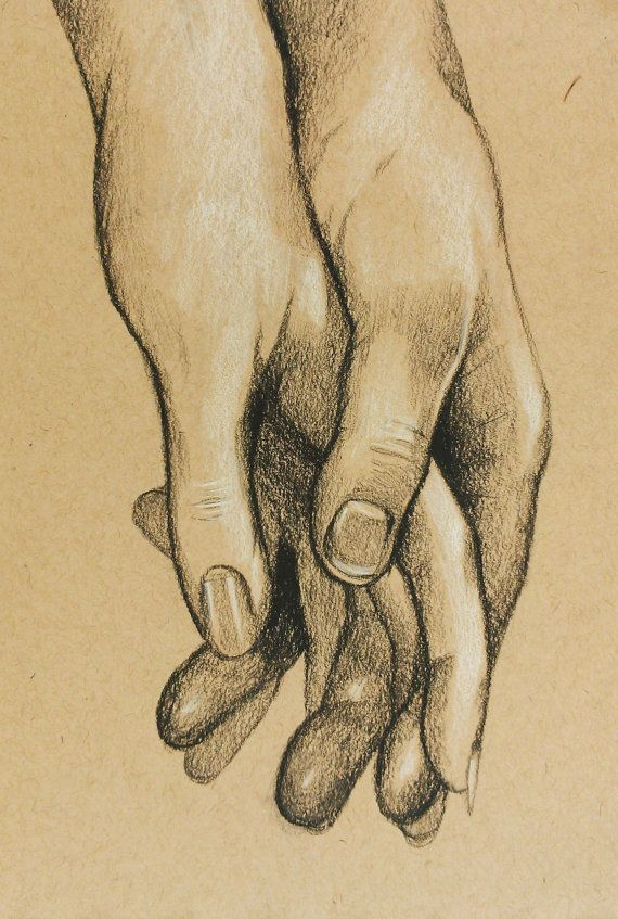 570x847 Cute Original Charcoal Drawing Of Hands Holding By Foxandthecrow