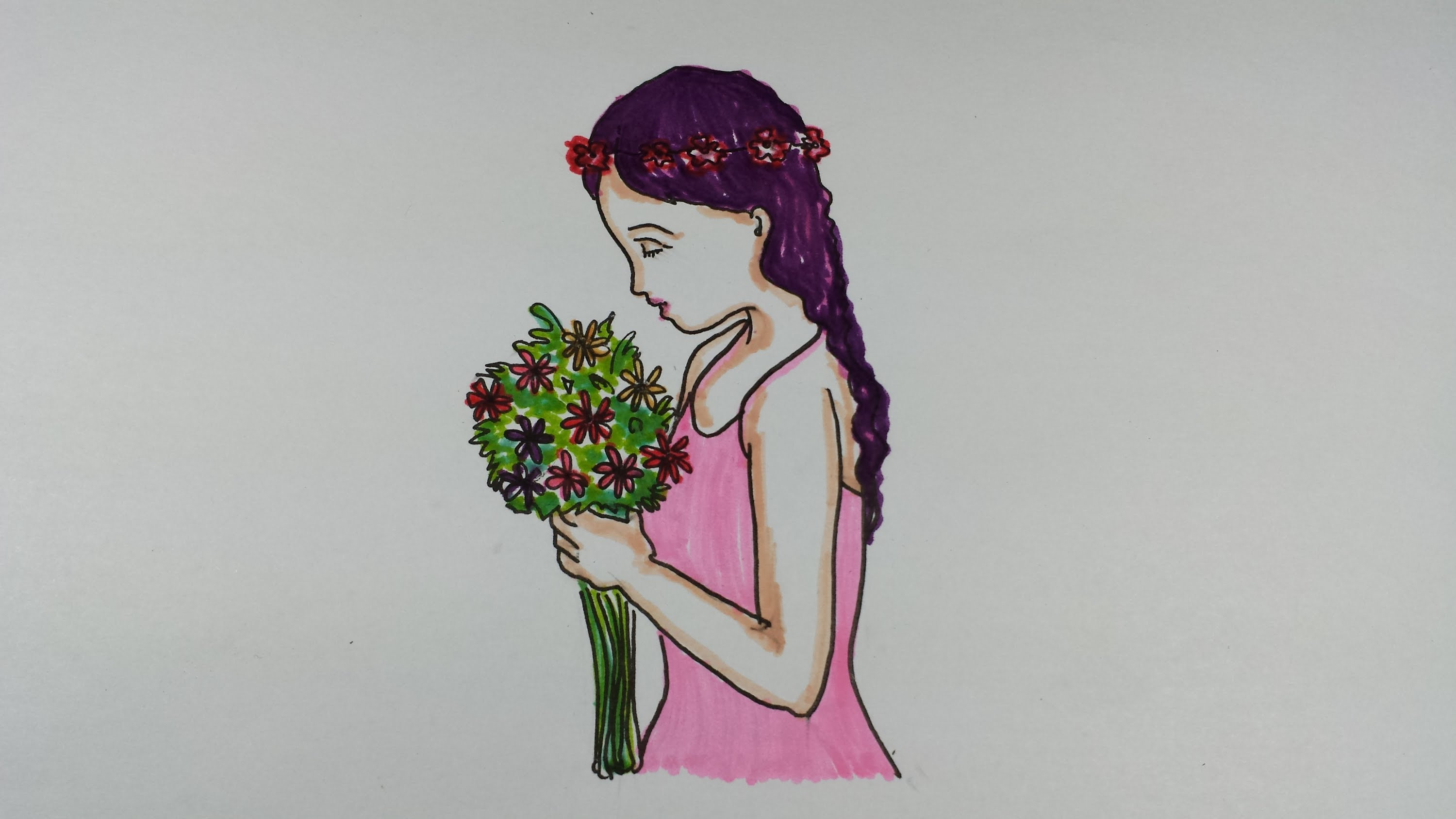 3000x1688 Drawing Tutorial~how To Draw A Girl Holding A Bouquet Of Flowers