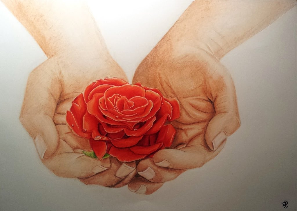 1024x728 Hands Holding A Rose Speed Drawing