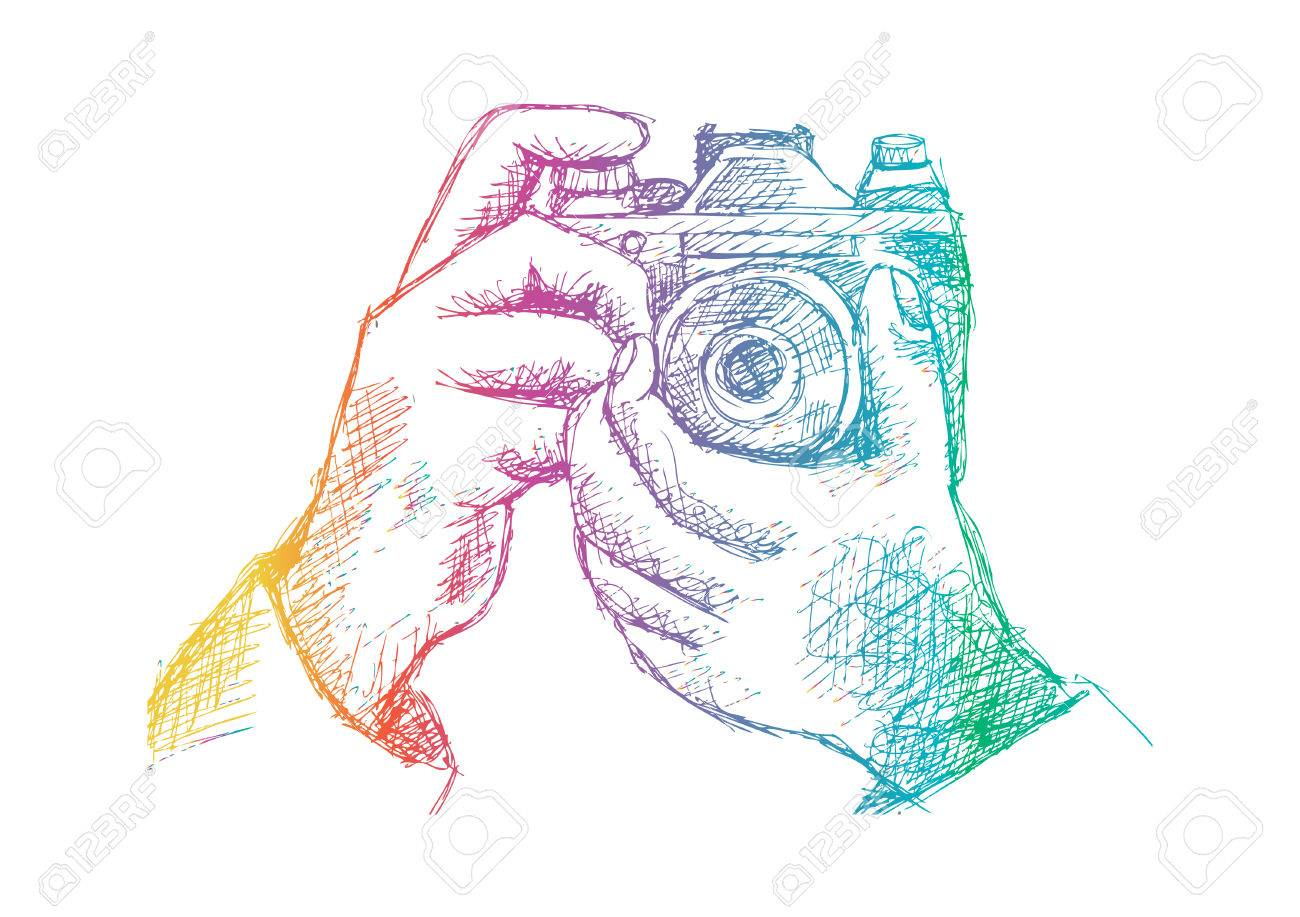 1300x917 Two Hands Holding A Camera. Hand Drawing Illustration. Royalty