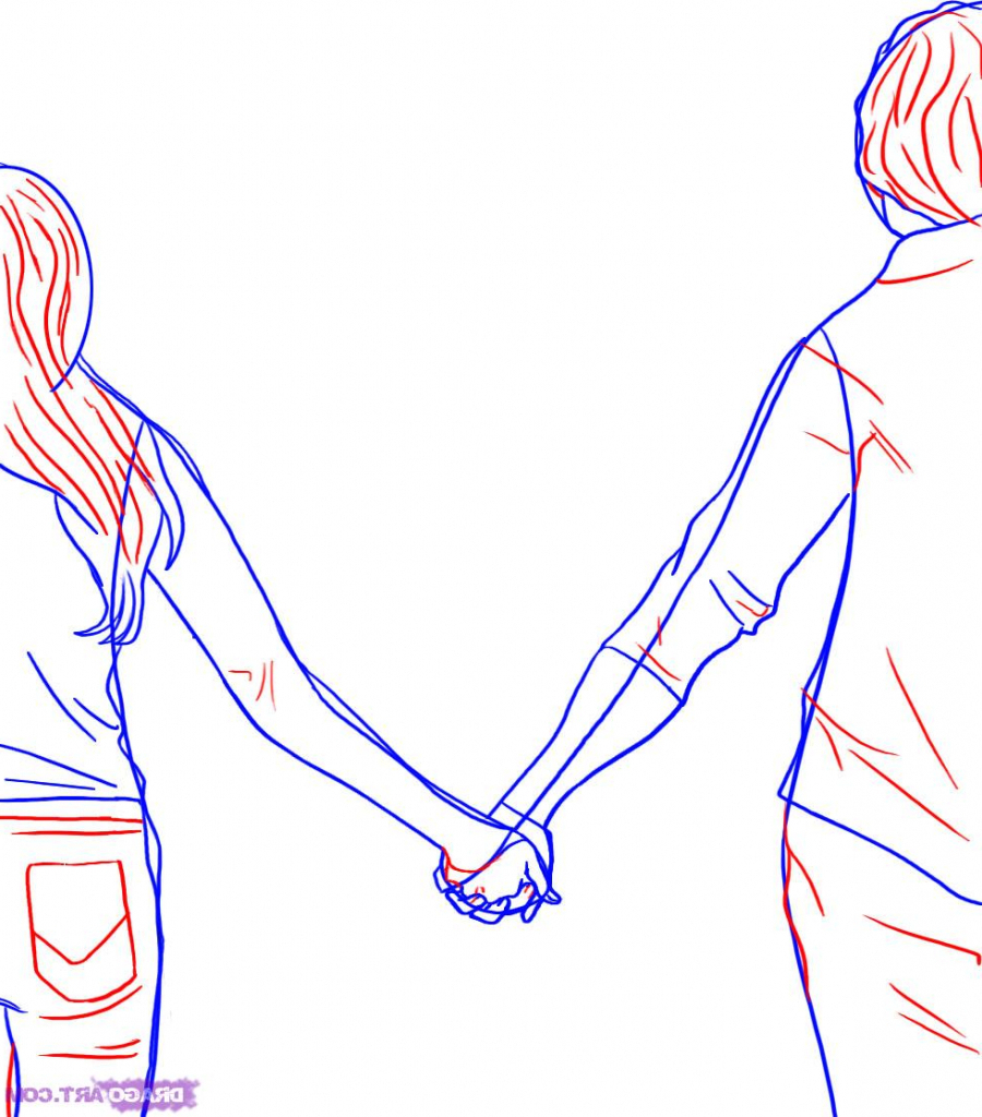900x1024 How To Draw People Holding Hands Holding Hands Drawing Stepstep