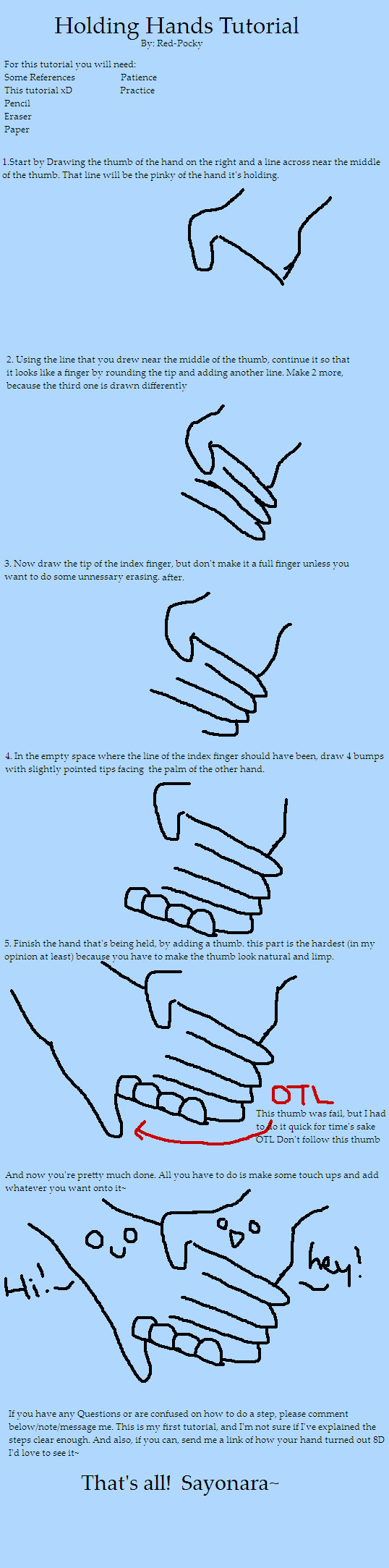 538x2167 How To Draw Holding Hands Step By Step Easy
