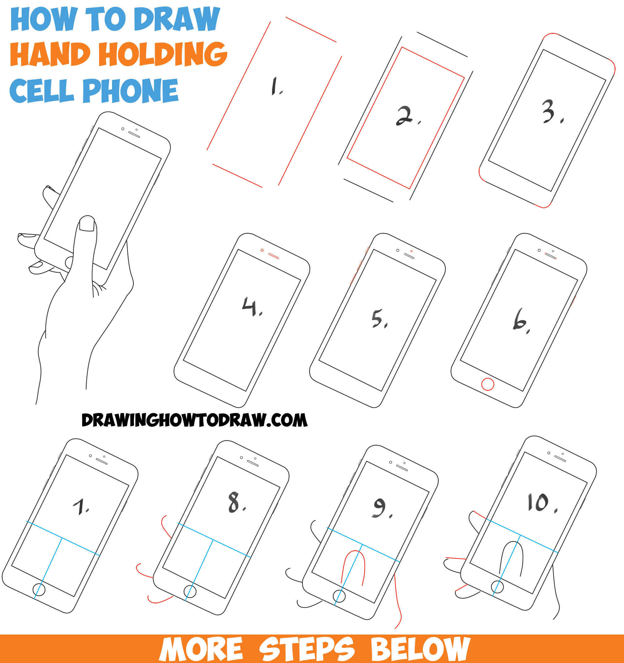 2016x2143 How To Draw A Hand Holding A Cell Phone Iphone In Easy Step By