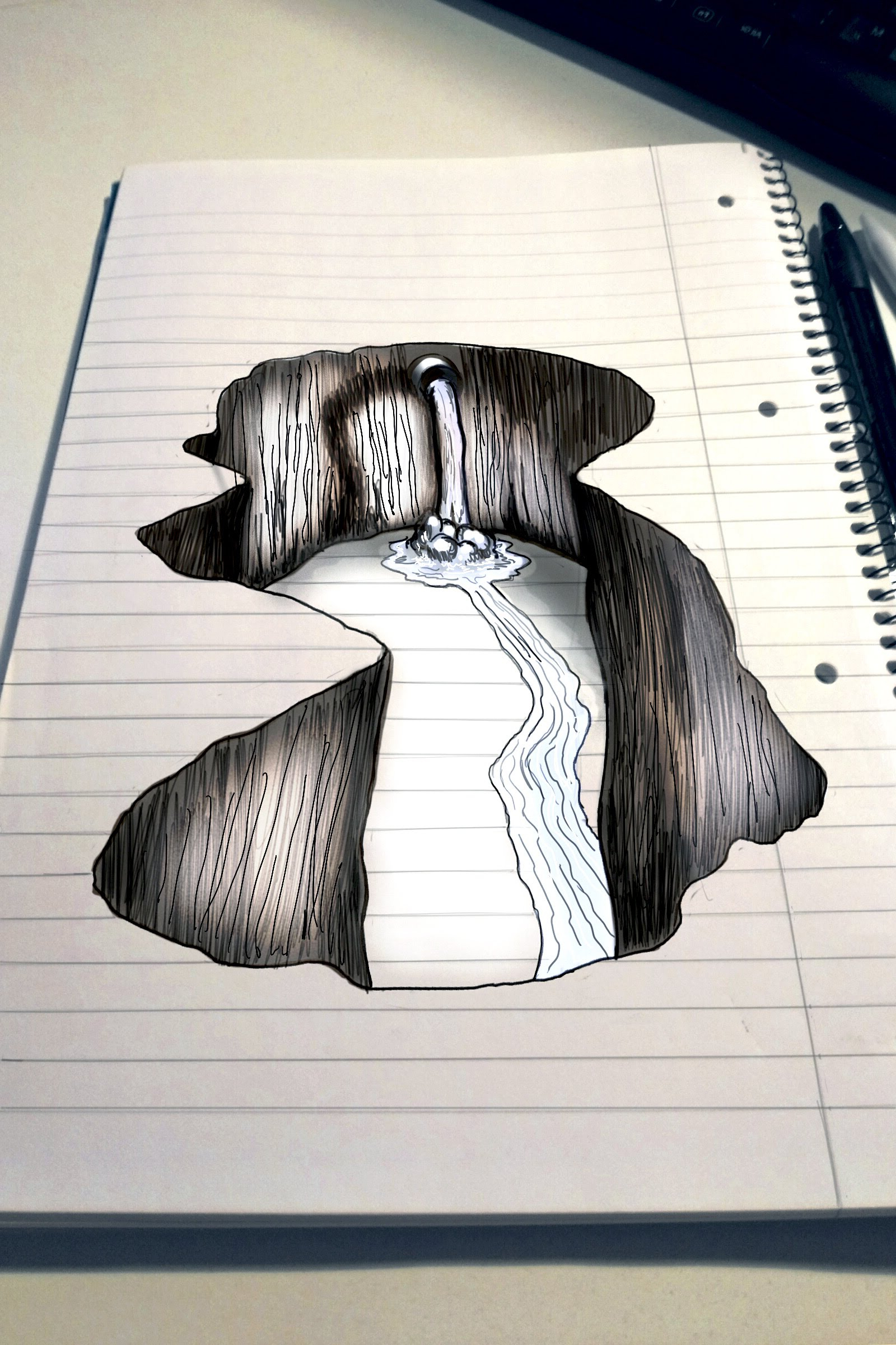 1600x2400 3d Hole Drawing On Paper Trick Art On Line Paper Speed Drawing 3d