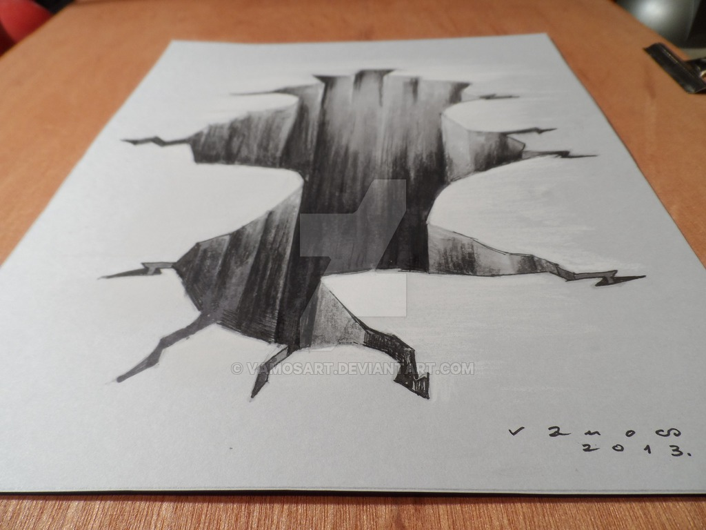 1024x768 Drawing 3d Hole, High Resolution By Vamosart