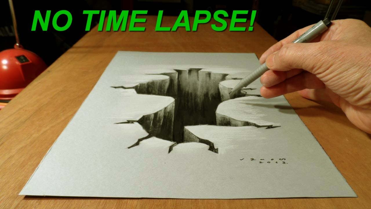1280x720 No Time Lapse! Trick Art On Paper, Drawing 3d Hole How To Draw