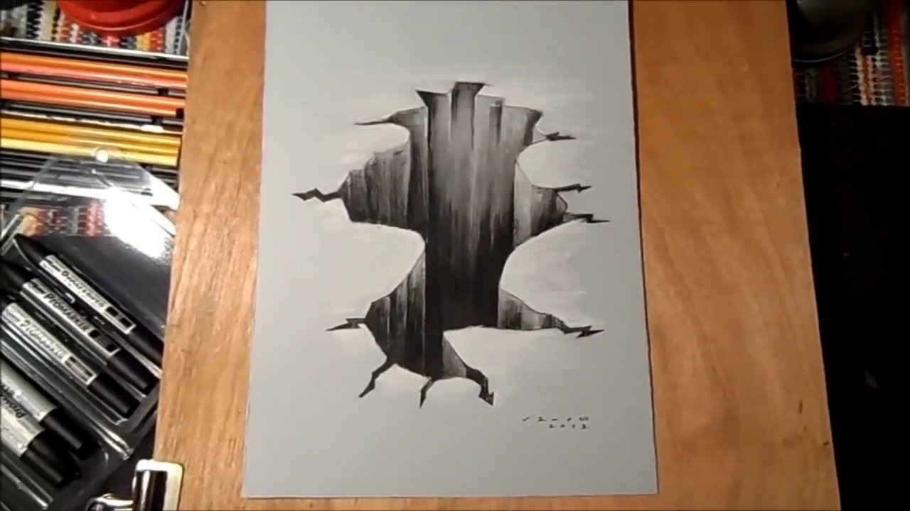 1280x720 Trick Art On Paper Drawing 3d Hole Time Lapse