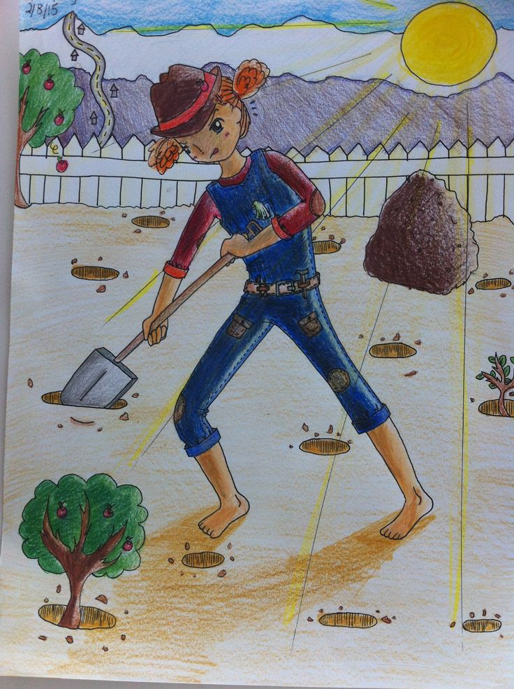 736x985 Color Pencil Drawing A Girl Digging Hole. It Reminds Me