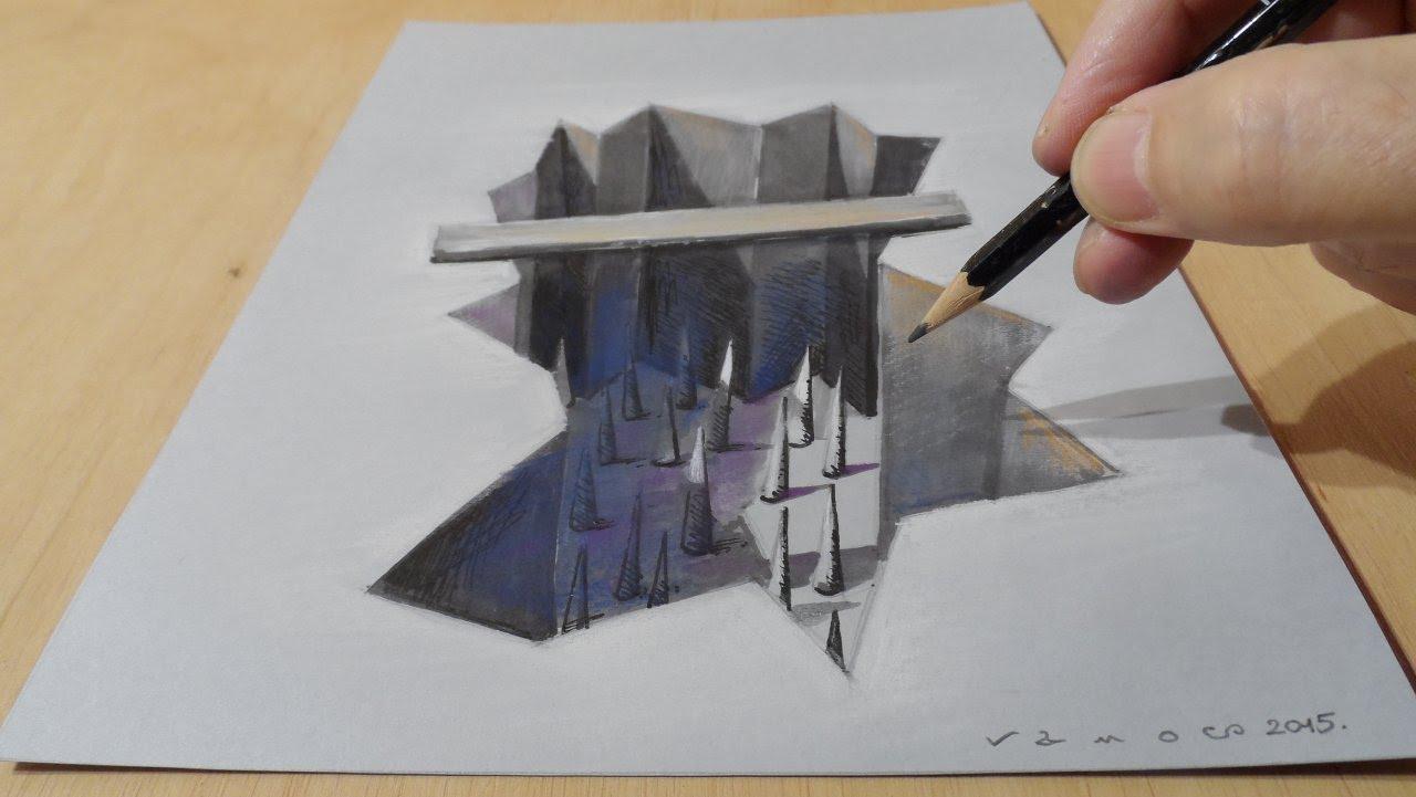1280x721 Pencil Art 3d Drawings Holes