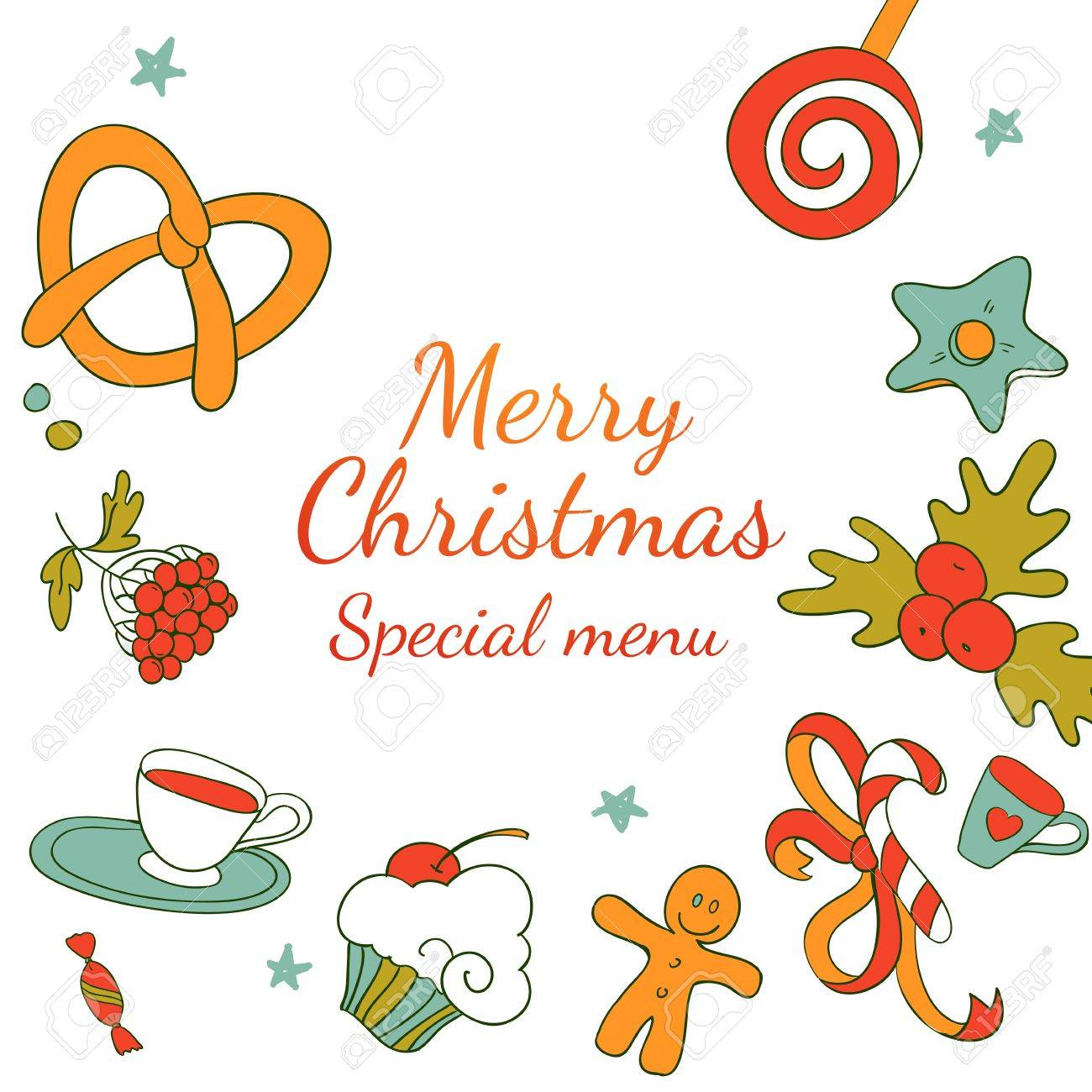 1300x1300 Vector Drawing Xmas Special Menu. Merry Christmas Restaurant