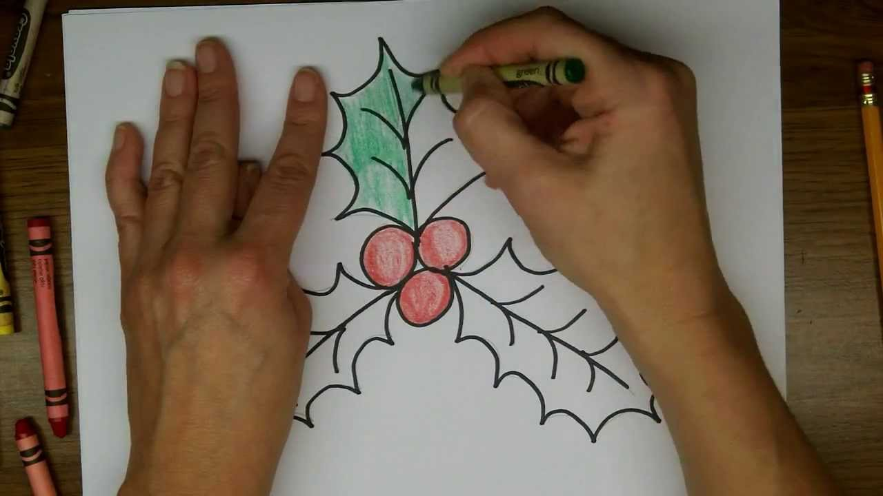 1280x720 Drawing How To Draw Holly And Holly Berries