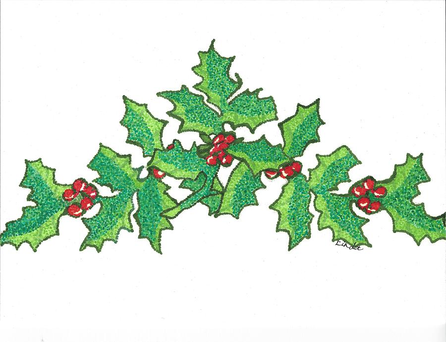 900x690 Holly Berries Drawing By Linda Scholl