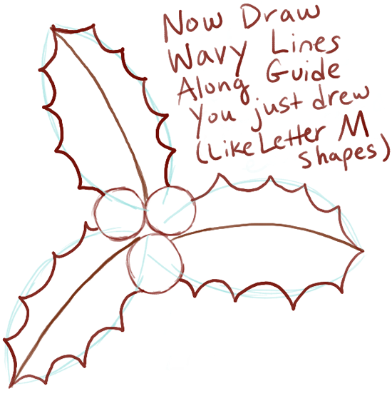 550x555 How To Draw Christmas Holly With Easy Tutorial