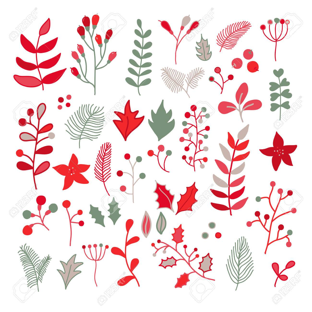 1300x1300 Christmas Floral Vector Drawing Set With Holly, Poinsettia