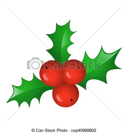 450x470 Christmas Symbol Holly Berry, Vector Icon Illustration. Vector
