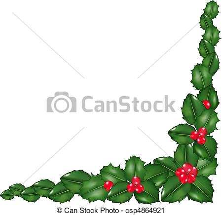 450x436 Garland From Holly Berry, Isolated On White Background, Vector