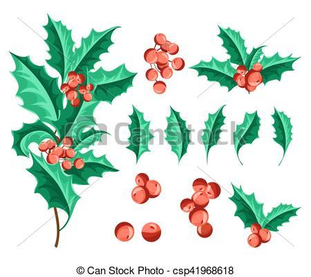 450x400 Christmas Holly Berry Set. Vector Illustration Vector Clip Art