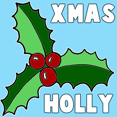 400x400 How To Draw Christmas Holly With Easy Tutorial