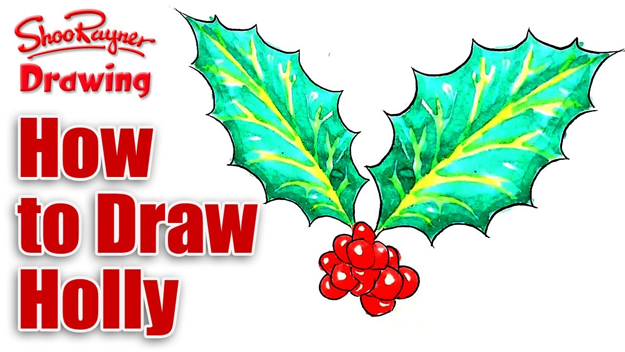 1280x720 How To Draw Christmas Holly