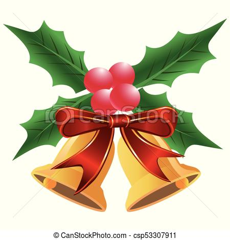 450x470 Isolated Christmas Holly Leaf With Bells From White Vector Clip