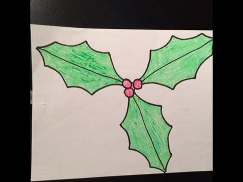 480x360 Drawing,how To Draw Holly And Berries, Fast And Easy,cartoon ,for