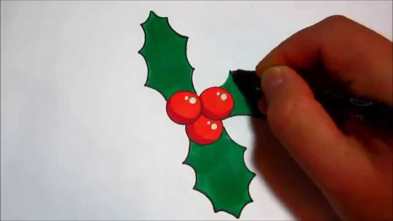 1280x720 How To Draw Holly For Christmas (Simple Design)