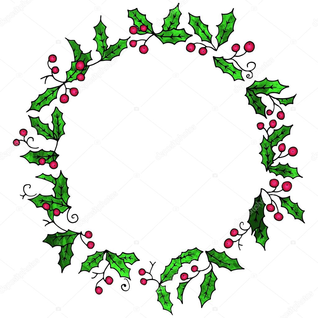 1024x1024 Wreath Of Holly Plant With Leaves And Berries. Stock Vector