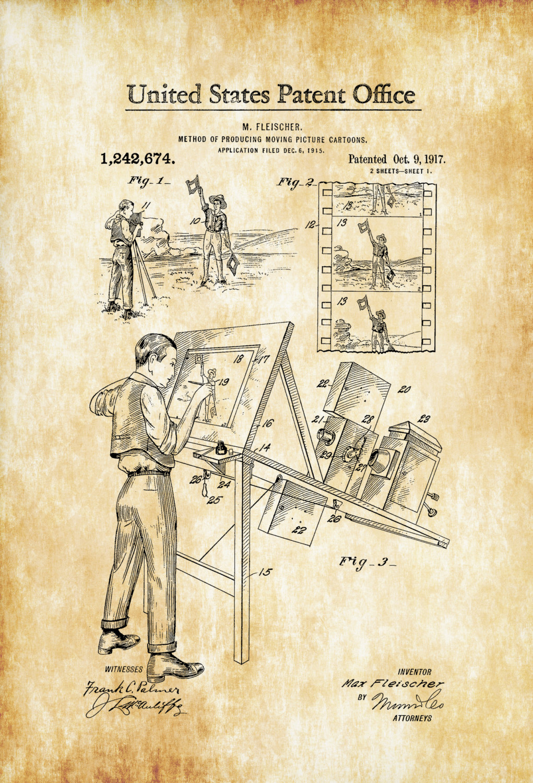 1021x1500 Cartoon Making Patent 1917 Patent Print, Wall Decor, Movie