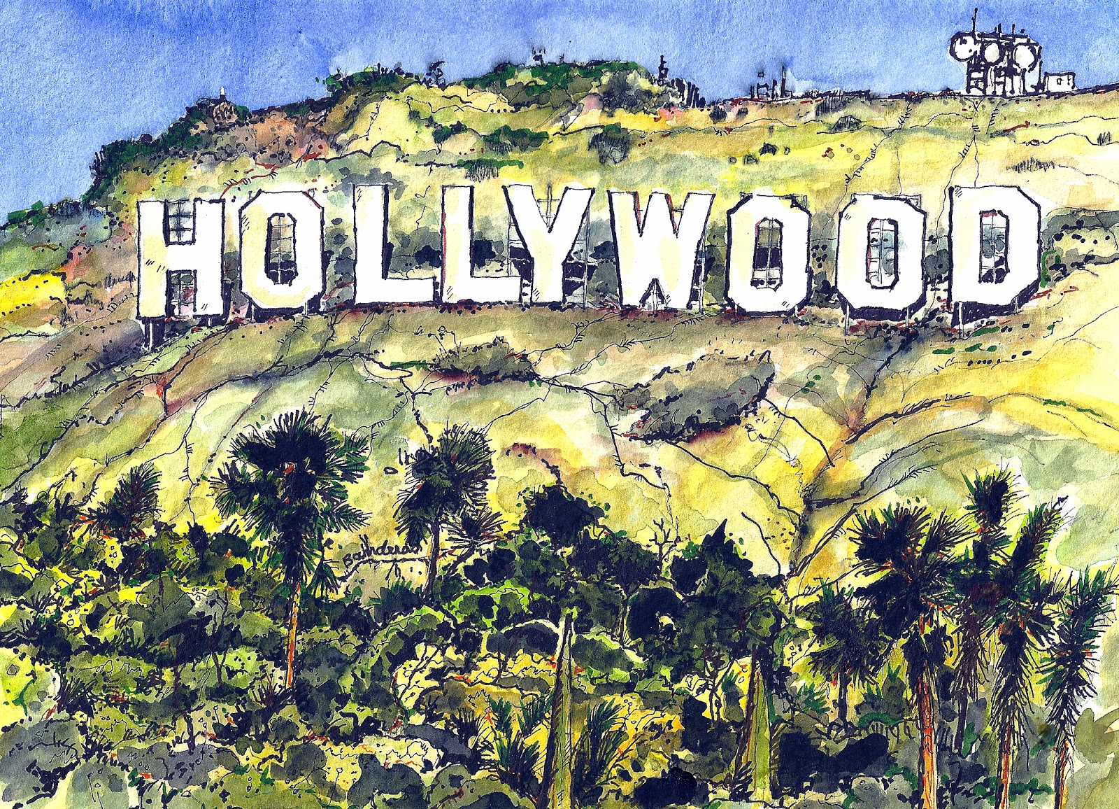 1600x1156 Terry39s Ink And Watercolor The Hollywood Sign
