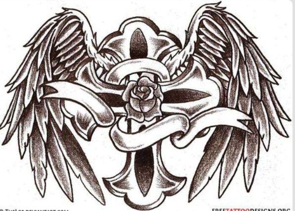 597x426 Angel Wings On Holy Cross Art Holy Cross