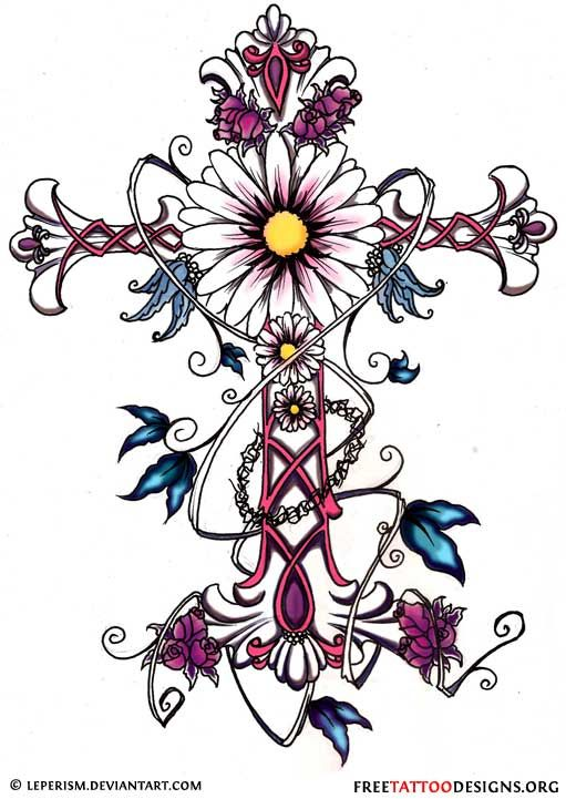 511x721 Cross Tattoo With Flowers And Butterflies Tattoos