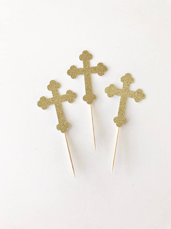 570x760 Holy Cross Cupcake Toppers Baptism Toppers Christening