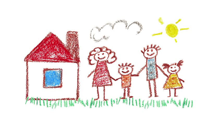 852x480 Child Draws Family And Home Using Color Pencils. Animated Drawing