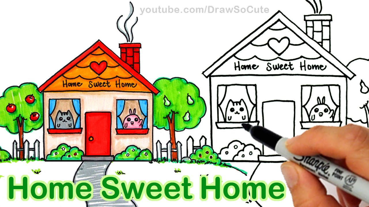 1280x720 How To Draw A Cartoon House Cute Step By Step Home Sweet Home