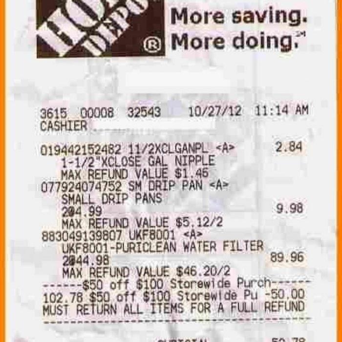 700x700 Home Depot Receipt Template Ready Drawing For 6 88 Cruzrich