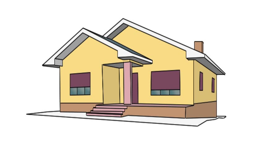 852x480 Drawing Of A House Stock Footage Video 3450041 Shutterstock