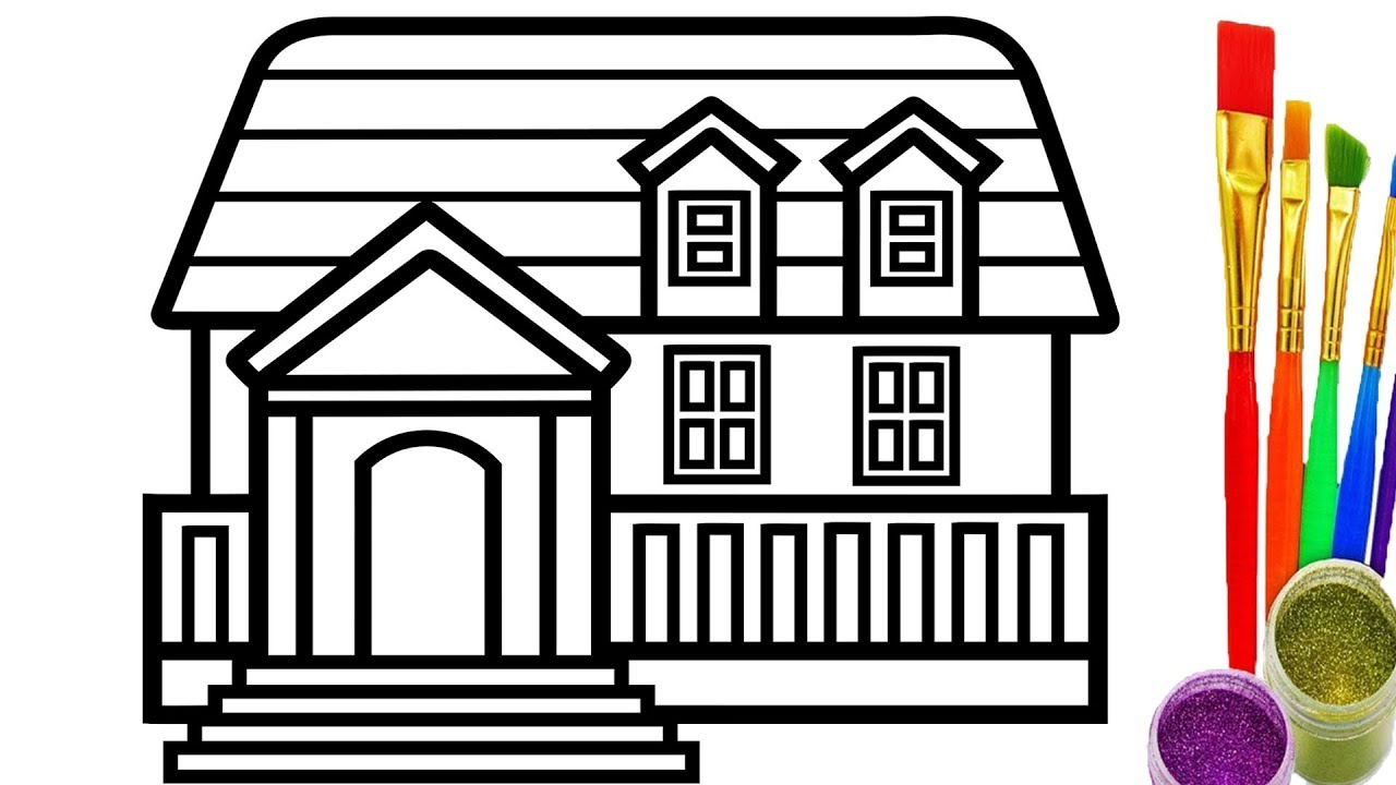 1280x720 How To Draw Doll House Coloring Pages For Kid Drawing And Learn