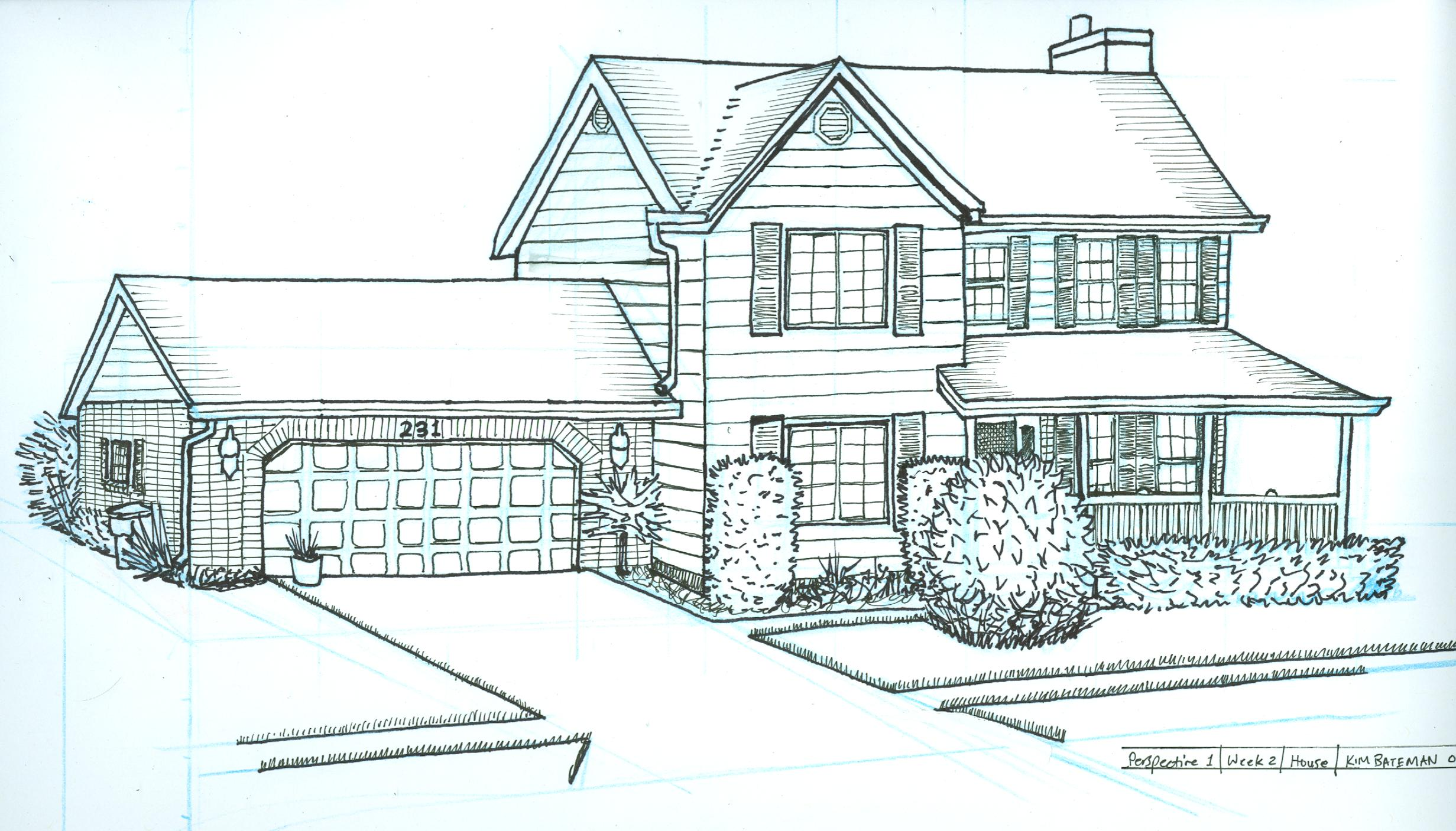2463x1407 Perspective Drawing House