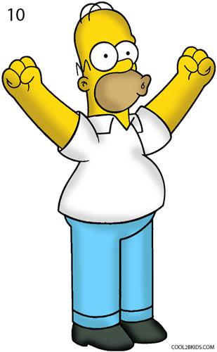 309x500 How To Draw Homer Simpson Step 10 Kunst Homer Simpson