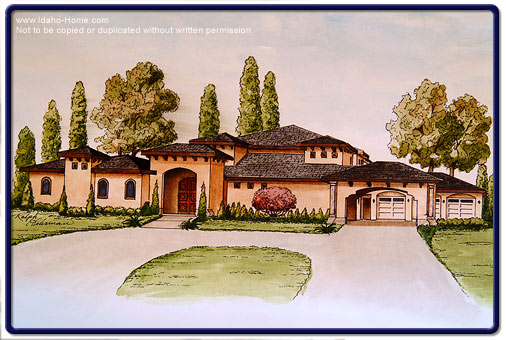 506x340 Drawing Of Custom Home With Descriptions