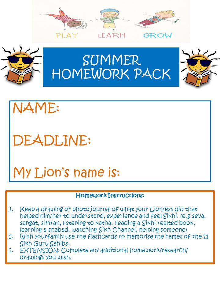 720x960 Summer Homework Pack Name Deadline My Lion's Name Is Homework