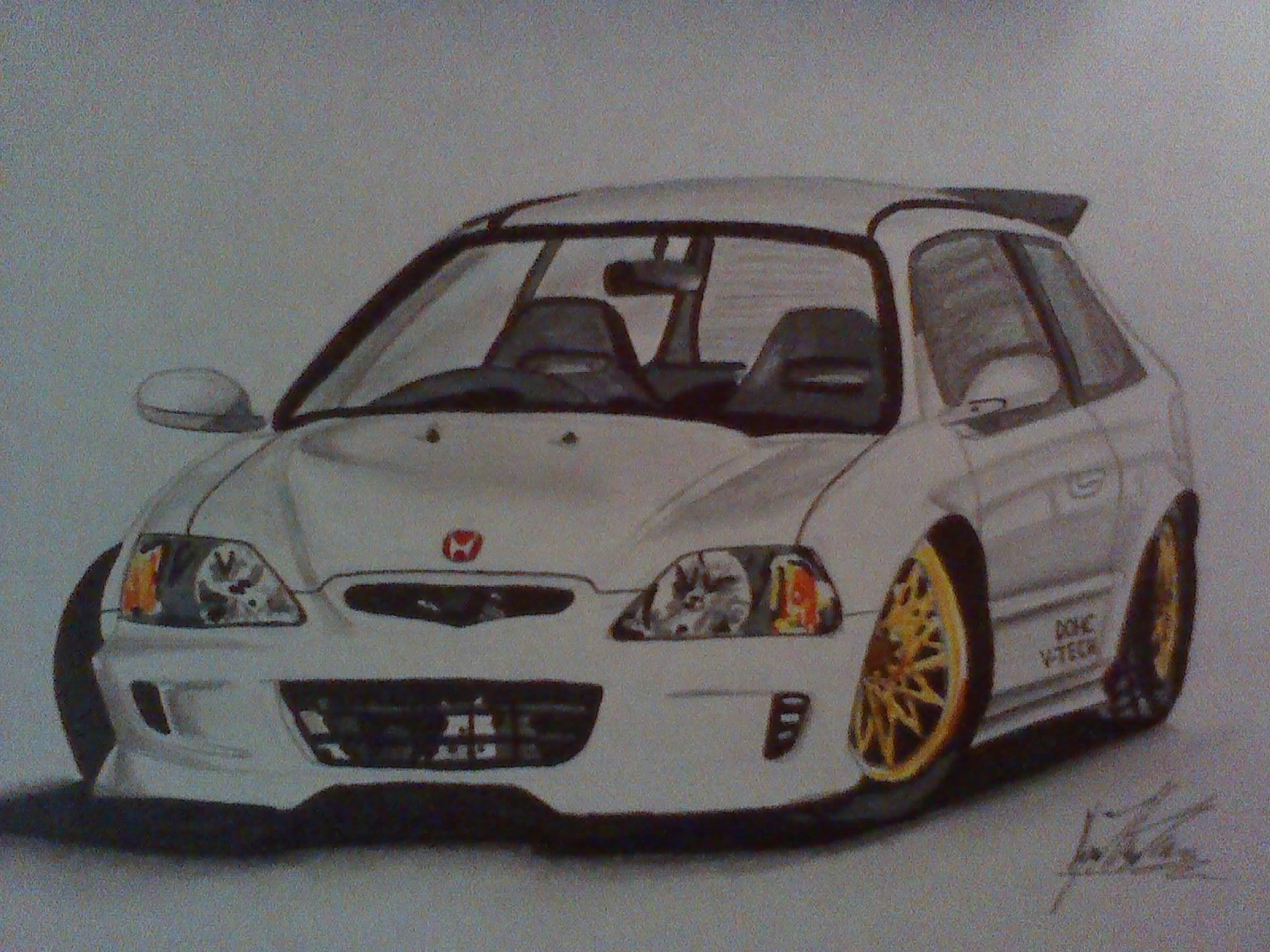 2048x1536 A Drawing I Did Of A Honda Civic (Ek) Type R Car Drawings