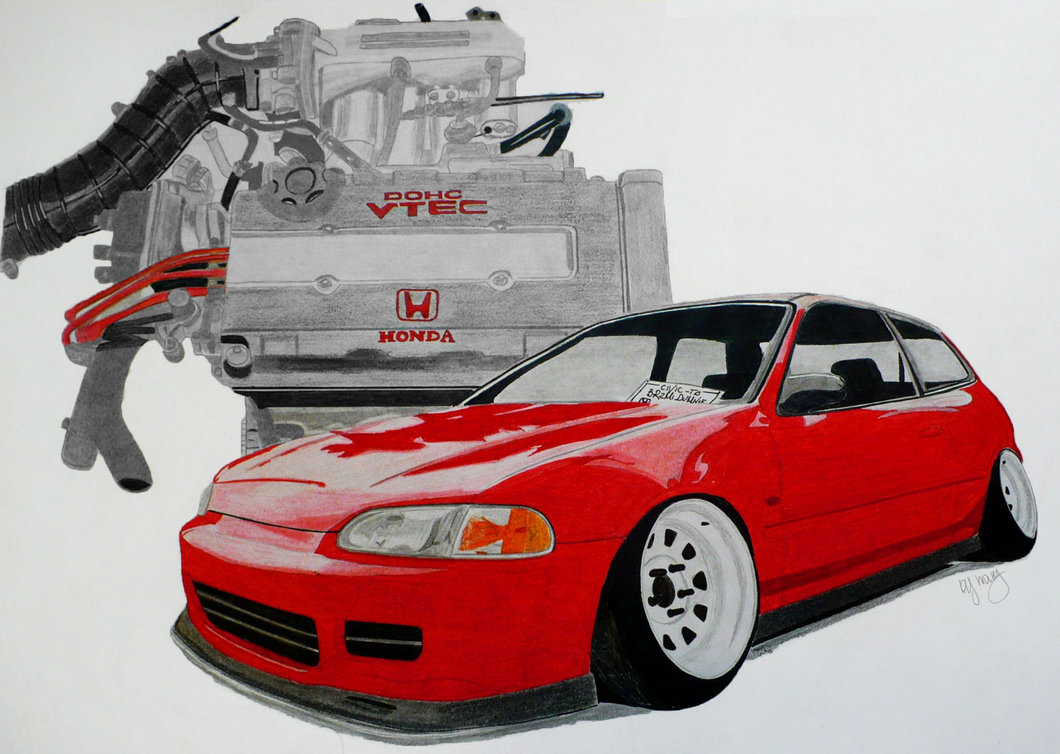 1060x754 Honda Civic Eg With Vtec Engine Drawing By Hary1908